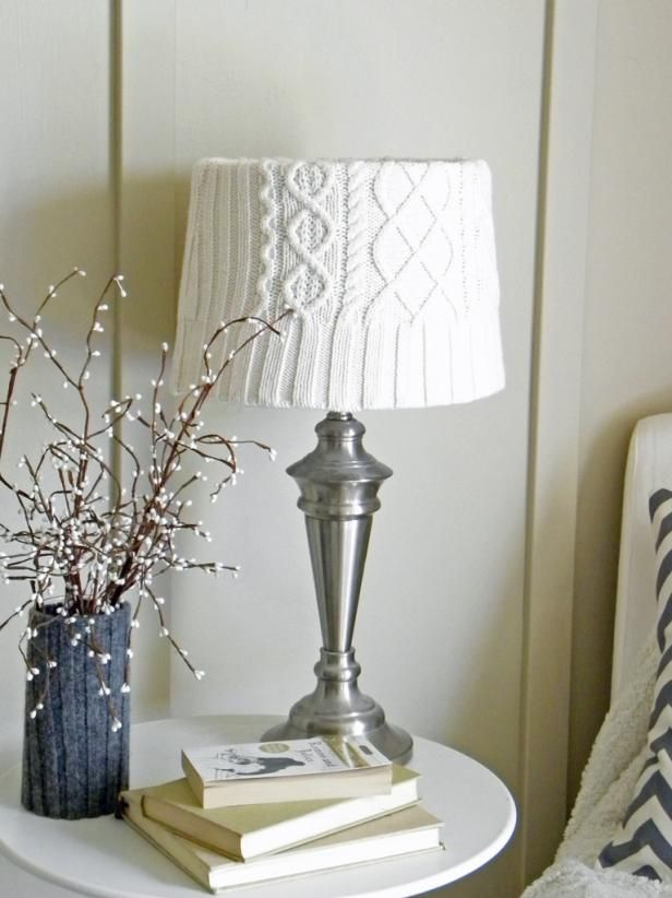 Sweater-Covered Lampshade >> http://www.hgtv.com/design-blog/how-to/10-sparkling-decor-projects-to-get-you-through-winter?soc=pinterest