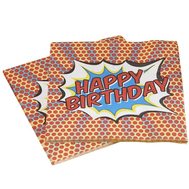 Following on from our best selling YUM Napkin, our HAPPY BIRTHDAY pop art napkin is perfect for a kids party or nostalgic superhero party! 20 napkins per pack, 33cm in size and 3 ply.