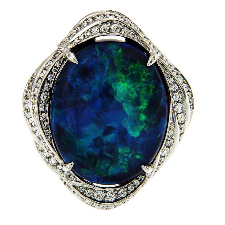 KAT FLORENCE Black Opal ring from Lightening Ridge Australia. #katflorencejewellery #opalsaustralia