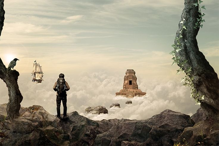 How to Create This Stunningly Surreal Artwork of a Secret Temple Above the Sky Read more at http://www.photoshoptutorials.ws/photoshop-tutorials/photo-manipulation/create-stunningly-surreal-artwork-secret-temple-sky/#oFEFvktDhpGyHybT.99