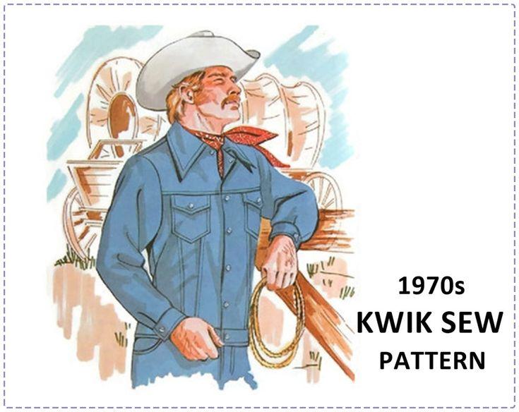 Men's Western Jacket Sewing Pattern - Kwik Sew 459 - Men's Jean Jacket - Chest Size 36 38 40 - UNCUT -  Denim Jacket, Rodeo Wear, Cowboy by EightMileVintageSews on Etsy