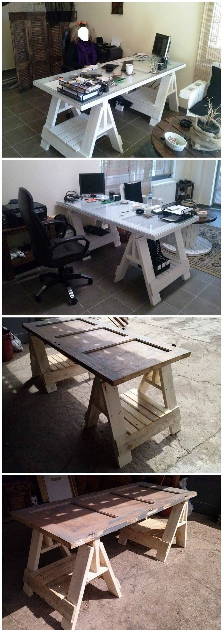#Door, #PalletDesk, #RecyclingWoodPallets A desk for my office from an old door and pallets. Very easy and looks awesome!