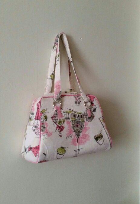 Swoon Vivian handbag.  Pink,  white, black duck canvas.  Perfect bag.