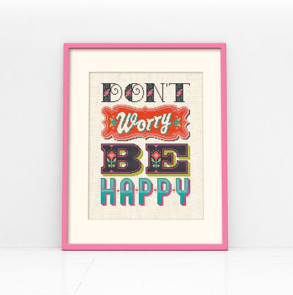 Be Happy  Cross Stitch Pattern Digital Format  PDF by Stitchrovia