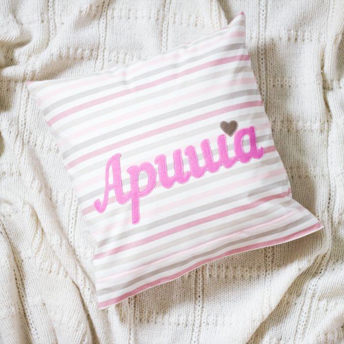 Купить Именная подушка розовая - детская комната, детская, новорожденный, белый, детская кроватка, розовый