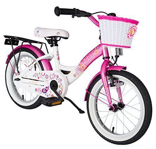 bike*star 40.6cm (16 Inch) Kids Children Girls Bike Bicycle Classic - Pink & White