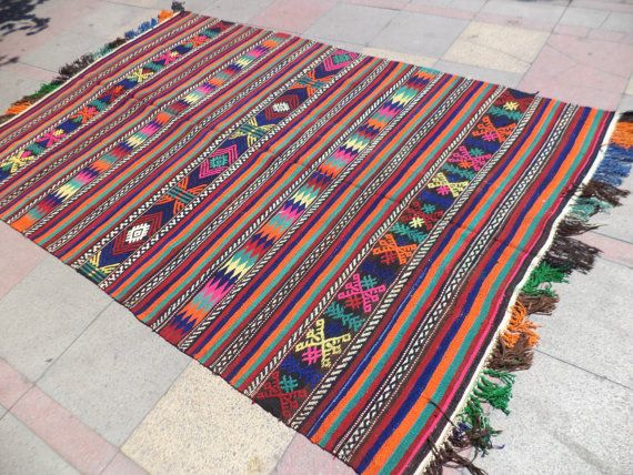 "VERY NICE Embroidered Turkish Kilim Rug, Kelim Rug, Rugs, Colorful Area Kilim Rug, 65,7"" X 102,3"""