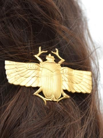 scarab hair clip! the egyptian symbol of eternity and a cleopatra fave...