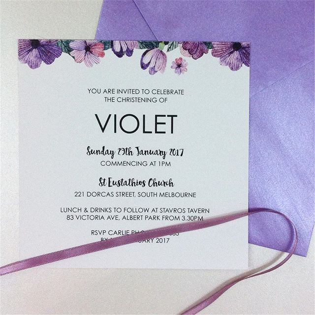 A Beautiful Christening Invitation for Violet! Digitally Printed on a matte 400gsm card can be customised for your own special event! For more information on our christening designs visit us online or instore at our Melbourne showroom! #inspireddesign #invitations #christening #comunion #firstbirthday #digitaldesign #madeinmelbourne #custom #christeningparty #violet #floralinspiration #floralinvitation #letterpress #christeninginvitation #firstbirthdayinvitation  #Regram via…