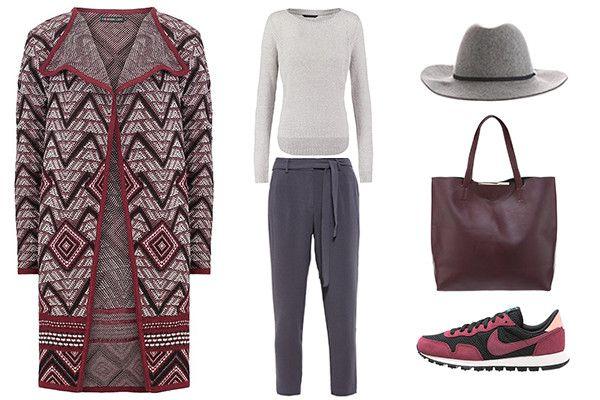 outfit en burdeos y gris