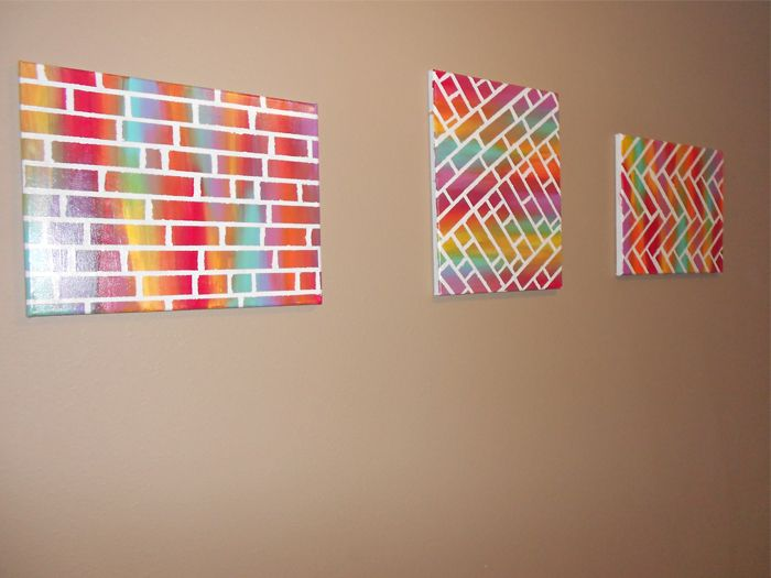 Easy diy painted bricks canvas art bedroom pinterest Diy canvas painting designs
