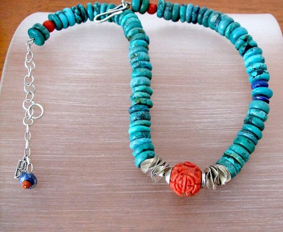 Turquoise Necklace - Siver Discs -Sponge Coral Focal Bead - Lapis Lazuli - Handmade - One of a Kind -            Fine Jewelry