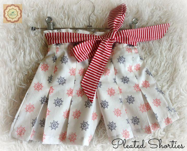 Nautical+Pleated+Shorts+Size+4+Girls+by+LittleOakApparel+on+Etsy,+$32.00