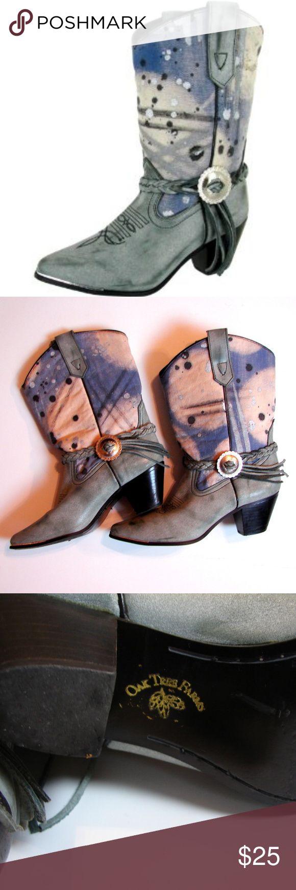 Oak Tree Farms blue paint splatter cowboy boots Oak Tree Farms blue paint splatter cowboy boots Excellent condition! Size 9 Oak Tree Farms Shoes Ankle Boots & Booties