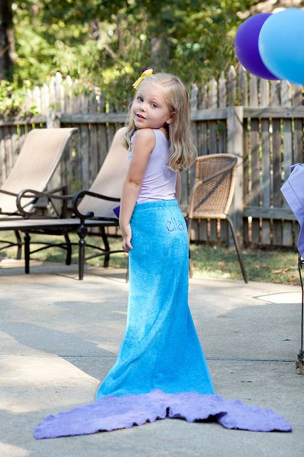 Mermaid Tail Beach Towel! So cute for a pool party party favor!!! OMG too cute! I would have killed for this!!