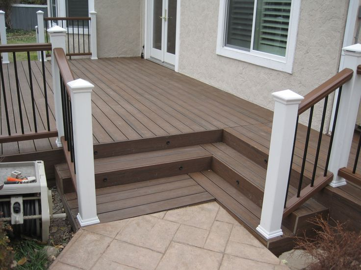 Standard Trex Decking Cost With Hight Quality Of Wood Material Matched With Cute Railing For Patio Decor Ideas Find This Pin And More On Deck Steps Porch