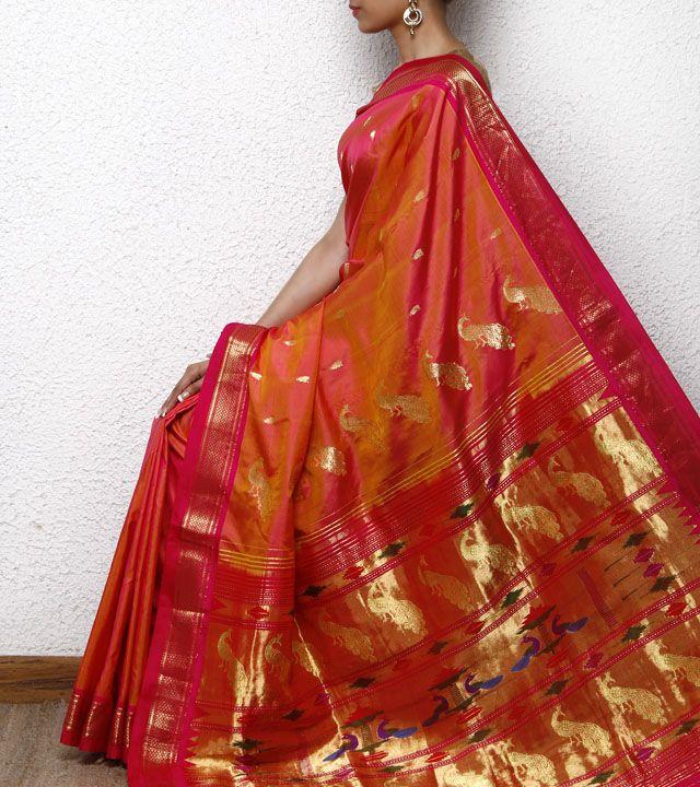 Golden & Peach Paithani Silk Saree