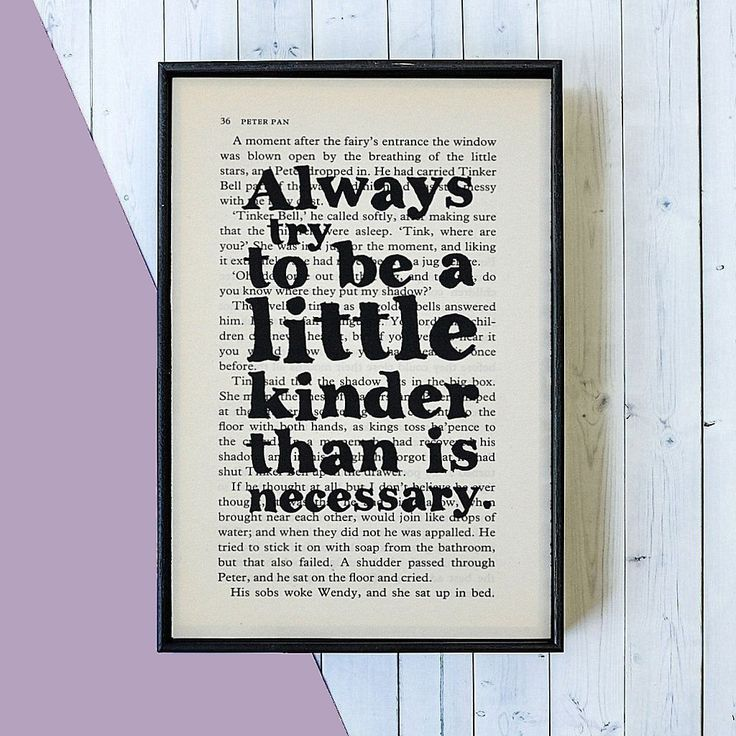 From Bookishly. Kindness Quote From JM Barrie - Framed Book Page Print.
