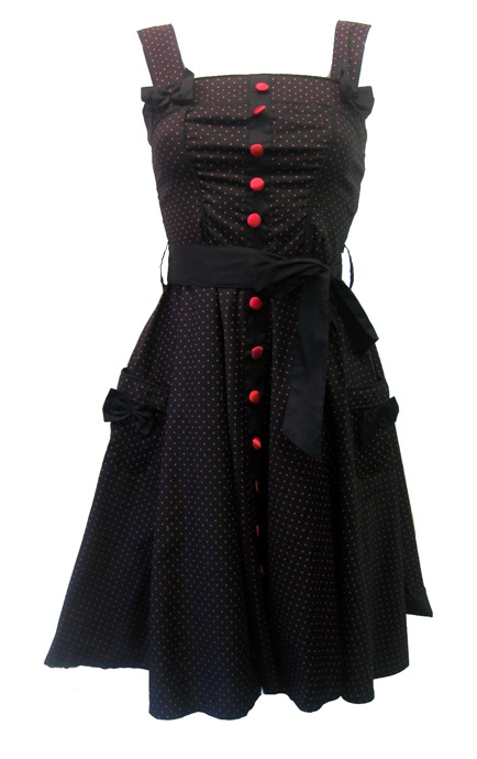 Hell Bunny Gery 50's 3/4 Polka Dot Dress Red | Gothic Clothing | Emo clothing | Alternative clothing | Punk clothing - Chaotic Clothing