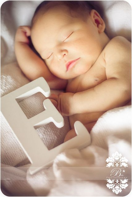 New born with soft blanket and first initial letter Sleepy Time by Beba Photography, via Flickr