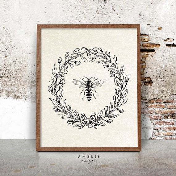 Bee Print, Farmhouse Printable, French Country Decor, Rustic Cottage Wall Art, Vintage Bee Illustration, Printable Download, Wreath