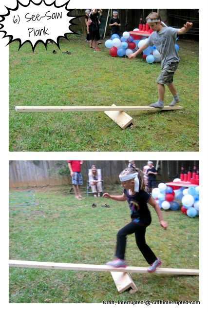 """balance beam   samurai sword fights (whoever steps off first loses),  but we ended up skipping that one because our birthday  boy had a stomach ache in the middle of his party.  It's just a 2x4 raised up on a few pieces of scrap wood  and screwed together.  The """"swords"""" were shortened  pool noodles with a section of PVC pipe stuffed in the end   for a handle to hang onto."""