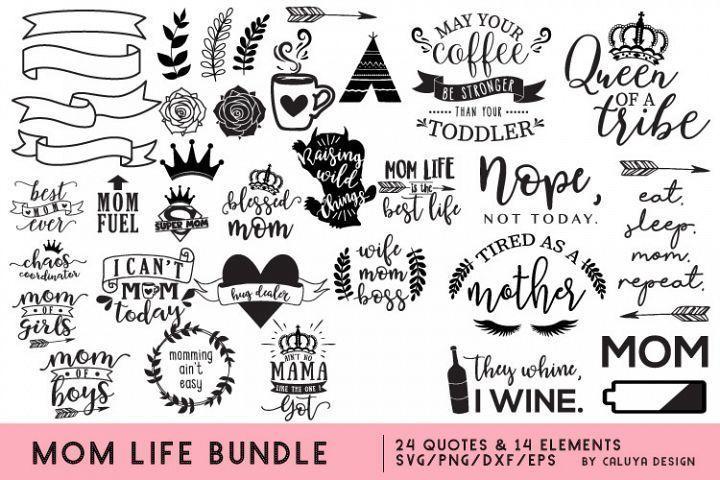 Mom Life SVG Cut File Bundle | DESIGN/FONT BUNDLES BUNDLE