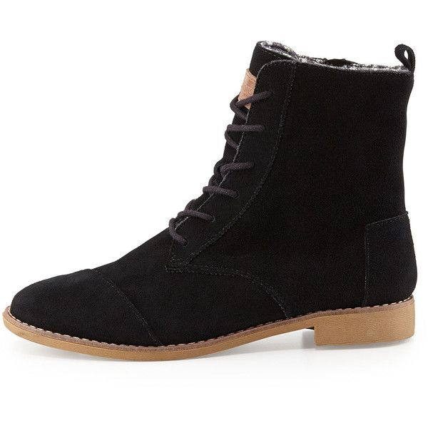 TOMS Alboot Suede Ankle Boot ($89) ❤ liked on Polyvore featuring shoes, boots, ankle booties, black suede booties, black wedge booties, wedge ankle boots, black suede boots and lace up booties