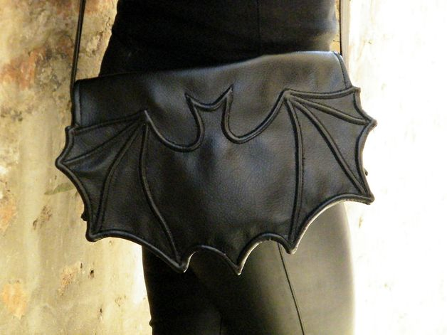via en.dawanda.com Messenger Bags – Black Faux leather bat bag – a unique product by fimachine2 on DaWanda