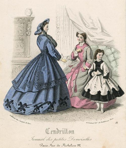 December fashions, 1863 France, Cendrillon