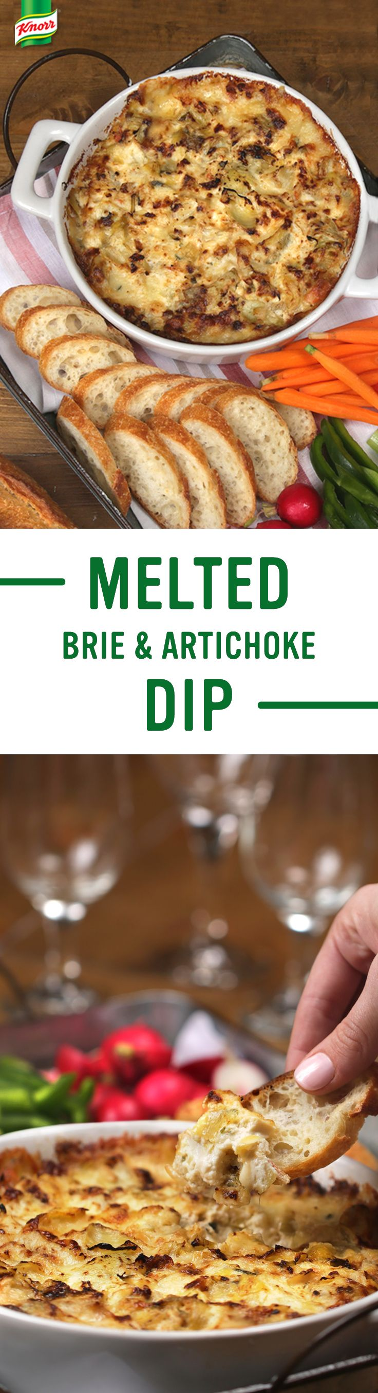 Looking for the best dip recipe? Knorr's Melted Brie & Artichoke Dip is full of cheesy & veggie flavors party guests will love, and makes a delicious meat free treat at the dinner table. Follow these simple steps for a new family favorite: 1. Combine package of Knorr® Vegetable recipe mix, mayonnaise, sour cream, & brie 2. Bake at 350° for 30 minutes. 3. Serve with sliced French bread and enjoy!