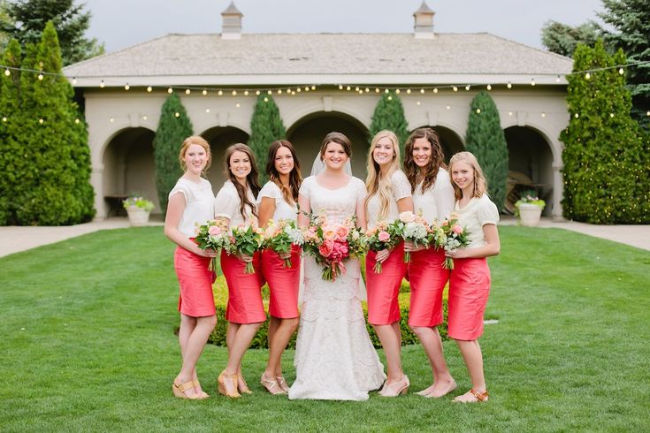 coral bridesmaids dress coral bridesmaids skirts thanksgiving point summer garden wedding coral wedding flowers coral bouquets coral and peach wedding flowers utah calie rose
