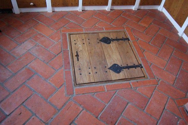 Lighting Basement Washroom Stairs: Brick Floor With Hatch