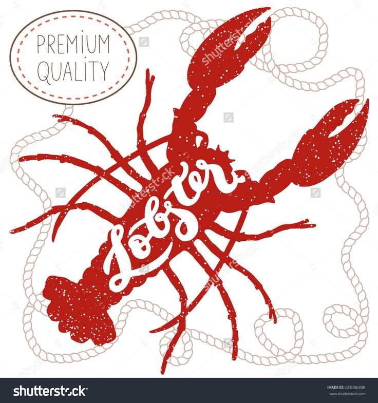 Red lobster silhouette seafood shop label, emblem template; hand drawn lettering with grunge effect in rope frame on white background; poster or postcard, element of restaurant menu