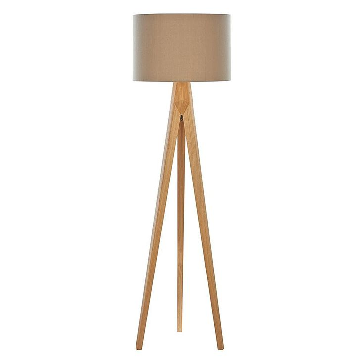 1 Light Wooden Tripod Floor Lamp with Latte Coloured Shade - Wood: Amazon.co.uk: Office Products