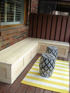 13 Awesome Outdoor Bench Projects, Ideas  Tutorials! • Including this L-shaped storage bench project from 'rambling renovators'.