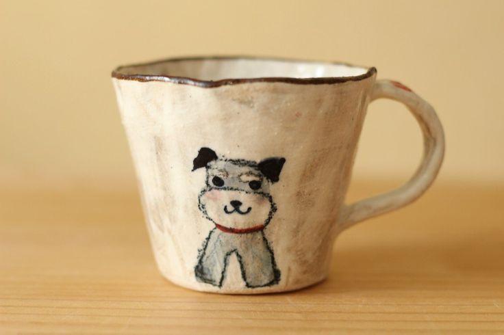 K様ご検討品粉引き手びねりミニチュアシュナウザーのカップ。