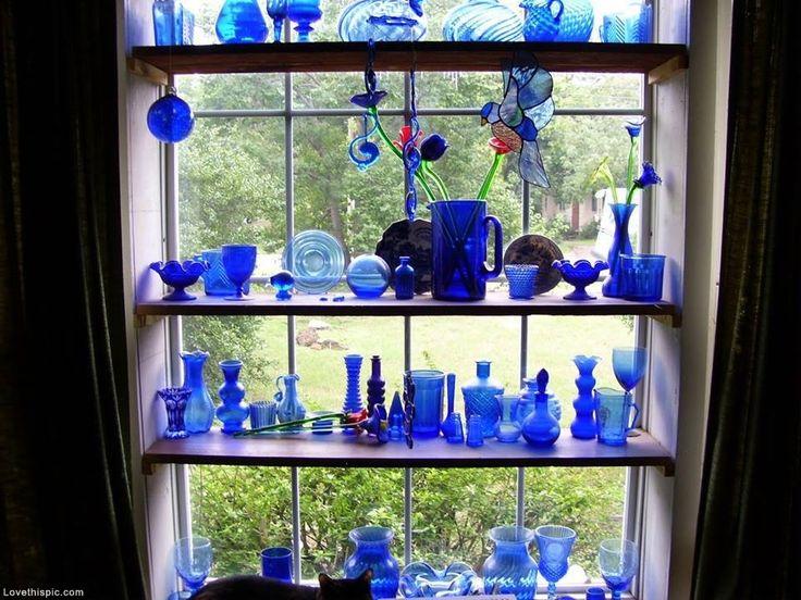 Blue Colbot Collection blue home vintage glass antique decorate cobalt