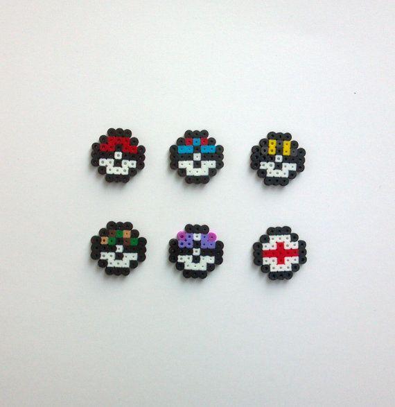 Bulk Order Party Pack Mini Pokeball Pokemon Perler Bead Sprites Birthday Favors 8 Bit Kandi Art Design Pin Magnet Earrings Necklace Pendant