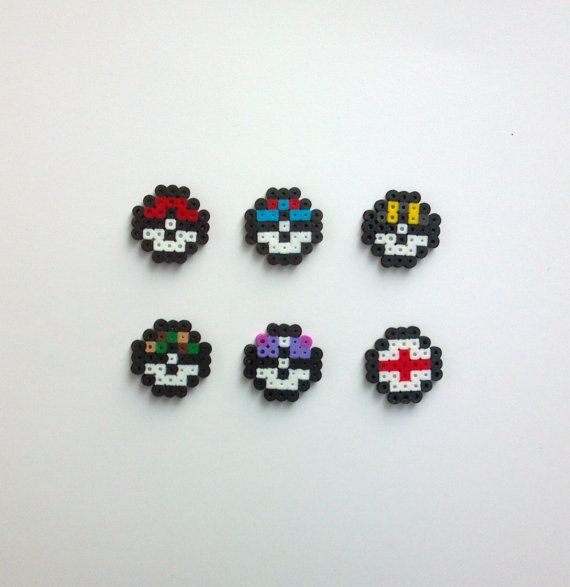 Mini Pokeball Pokemon Perler Bead Sprites 8 Bit by TheLastSumerian
