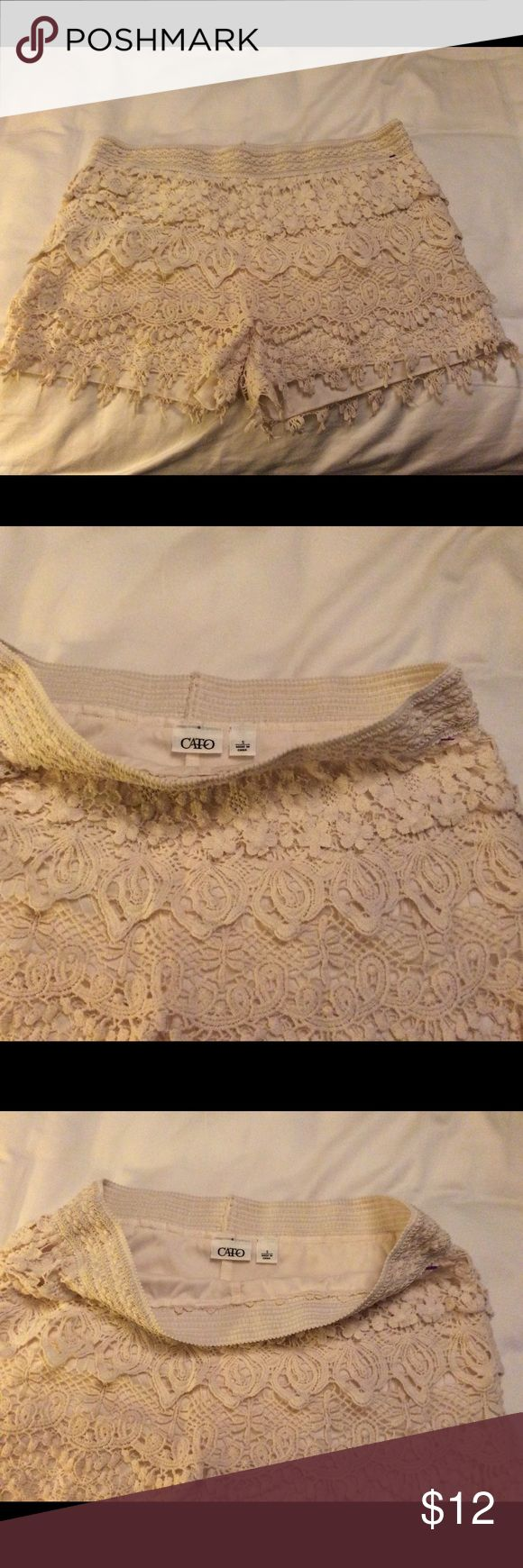 Lace shorts Cream colored lace shorts! Dress them up or dress them down......so cute and comfortable! Cato Shorts