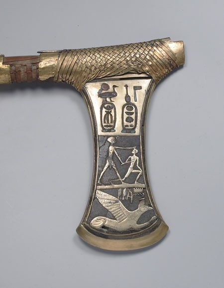 Axe (detail) from the Tomb of Ahhotep, Thebes. New Kingdom, Dynasty 18, 16th Century BCEGold and copper with semiprecious stones 18 3/4 in x 2 5/8 in.