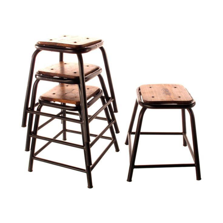 Wood and iron primary stools set of dotandbo