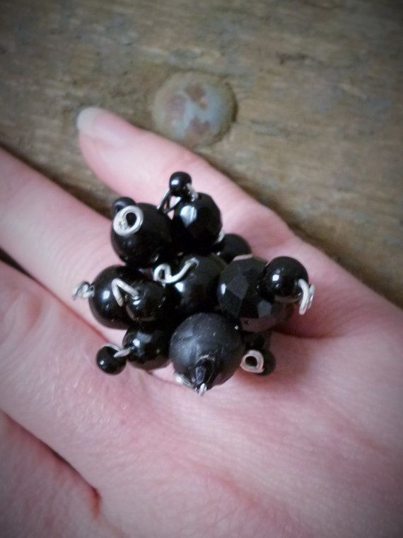 Black beaded adjustable cluster Ring by reccabella by reccabella
