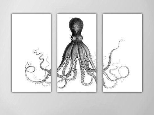 """Octopus Triptych, Octopus Nautical Art Print, Lord Bodner's Octopus, Black and White Octopus Wall Art, Nautical Art Octopus, Giant Octopus. Listing is for """"Lord Bodner's Octopus"""" art print in """"WHITE"""". ====== Size Specs ====== This is a three-piece art print set. You will receive three separate art prints with this listing. Below are a few common sizes that we offer. ➔ 36""""x24"""" total image size / (3) 12""""x24"""" prints ➔ 45""""x30"""" total image size / (3) 15""""x30"""" prints ➔ 48""""x32"""" total image size /..."""