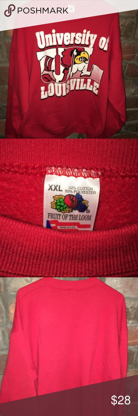 Vintage Louisville Sweatshirt Vintage University of Louisville Sweatshirt. Size XXL. Fits more like an XL. Good used condition. Gently worn... No rips, holes or stains. No pilling. Very clean! Fruit of the Loom Shirts Sweatshirts & Hoodies