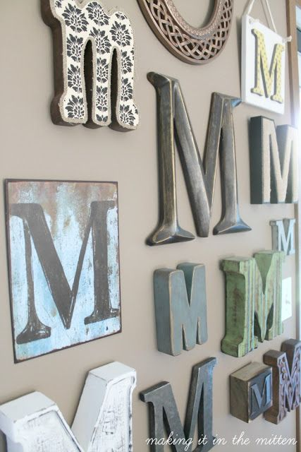Monogrammed wall home sweet home pinterest monogram for Party wall act letter to neighbour