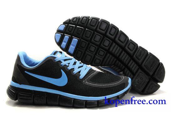 Goedkoop Schoenen Nike Free 5.0 V4 Dames (kleur:vamp&zool-zwart;logo&inside-blauw) Online Winkel.