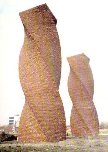 Herman Makkink | getordeerde torens (wokkels), Waddinxveen 1988