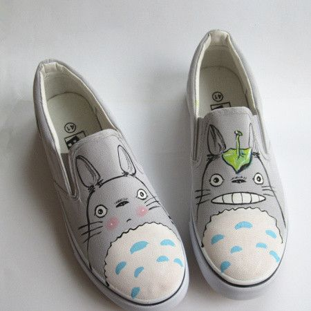 Cute students totoro hand-painted canvas shoes